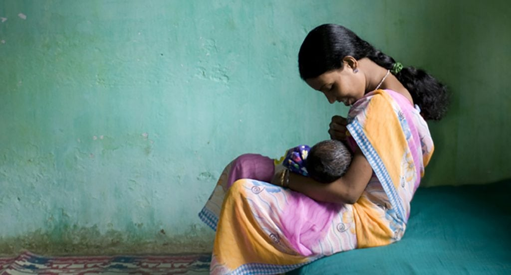 Breastfeeding mother in India